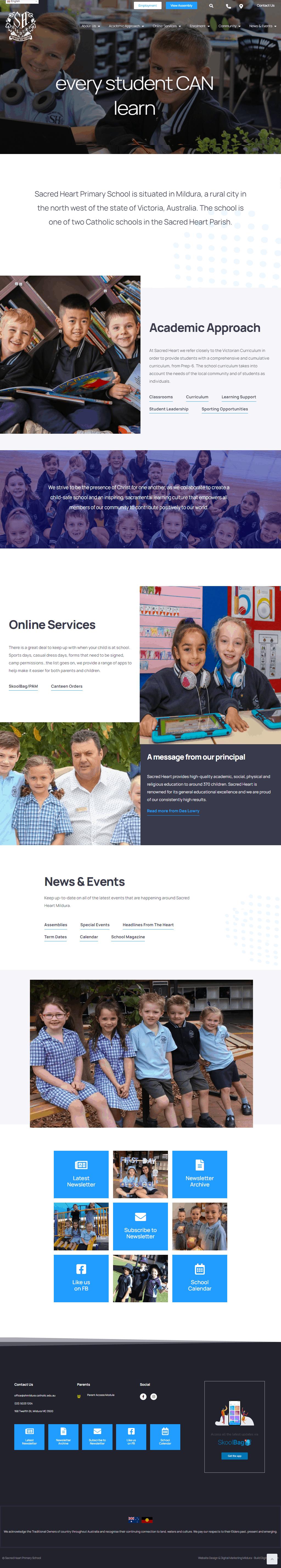 Sacred Heart Primary School Web Design