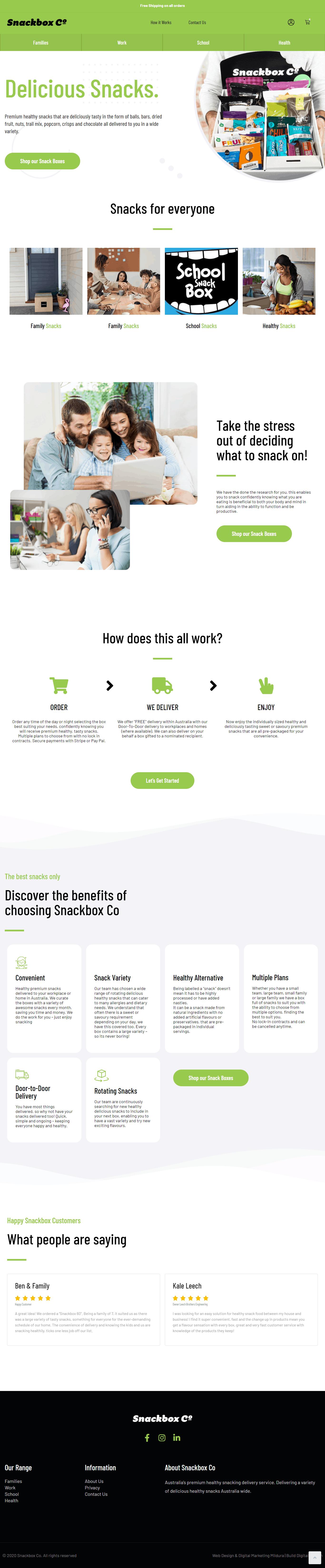 SnackBox Co Web Design Mildura
